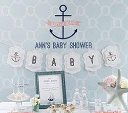 nautical girl baby shower banner