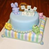 image of a pastel baby animals cake