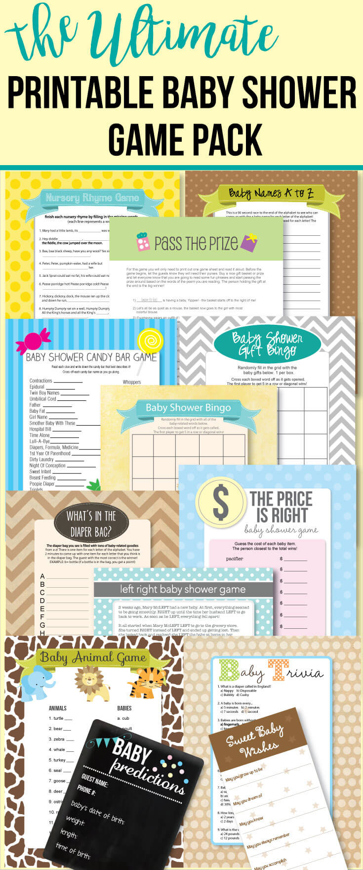 printable baby shower game pack banner