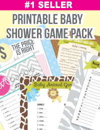 banner of printable baby shower games