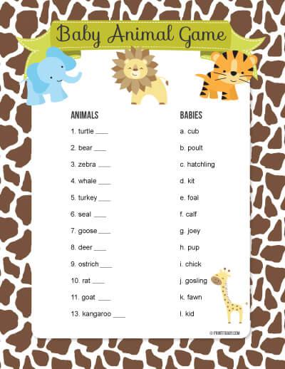 Printable Baby Animal Game