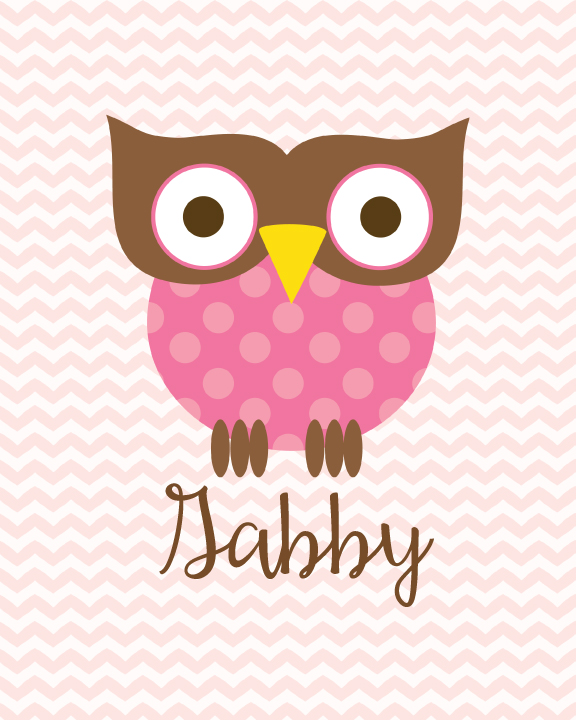 image of printable pink owl nursery wall art