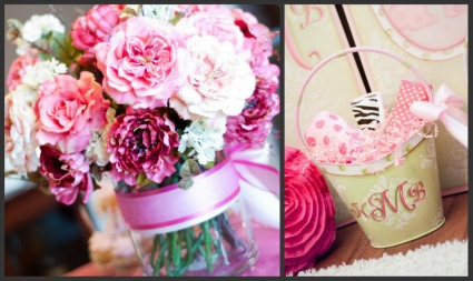image of pink baby shower flowers and decor