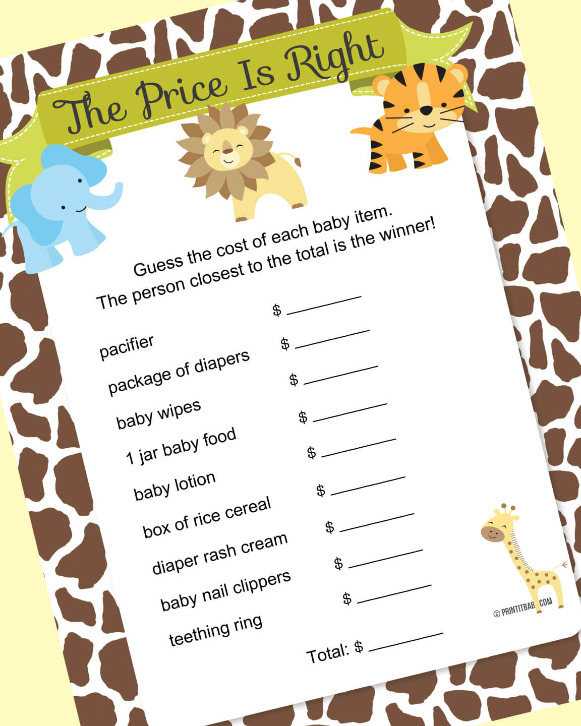 jungle baby shower game ideas banner