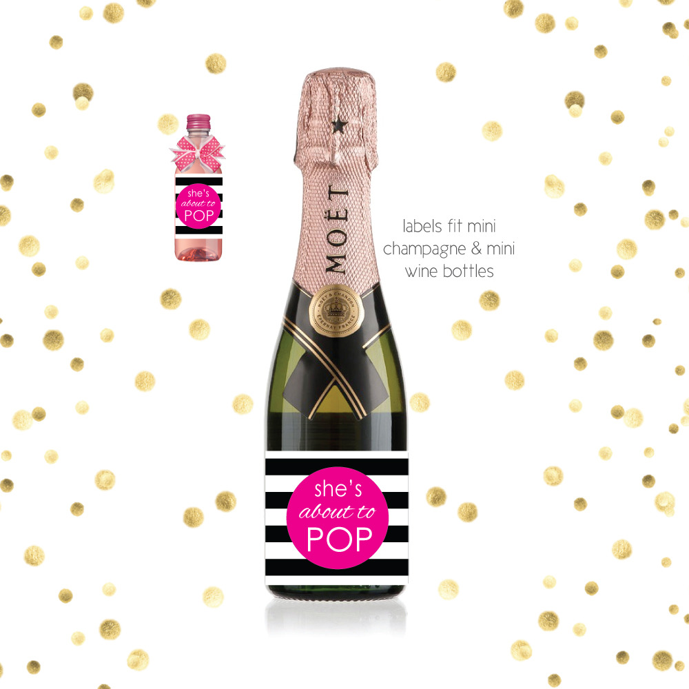 image of about to pop printable champagne labels