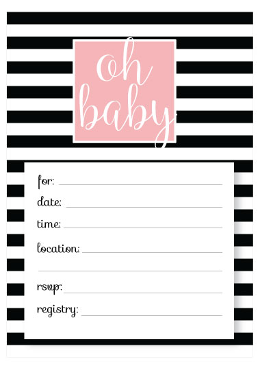 Free Pink And Black White Printable Baby Shower Invitation Templates