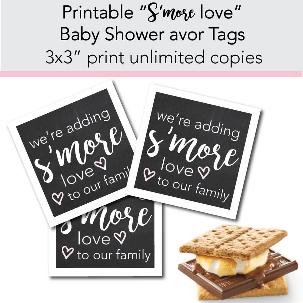 We're adding s'more love to our family banner. favor tags for an adoption baby shower