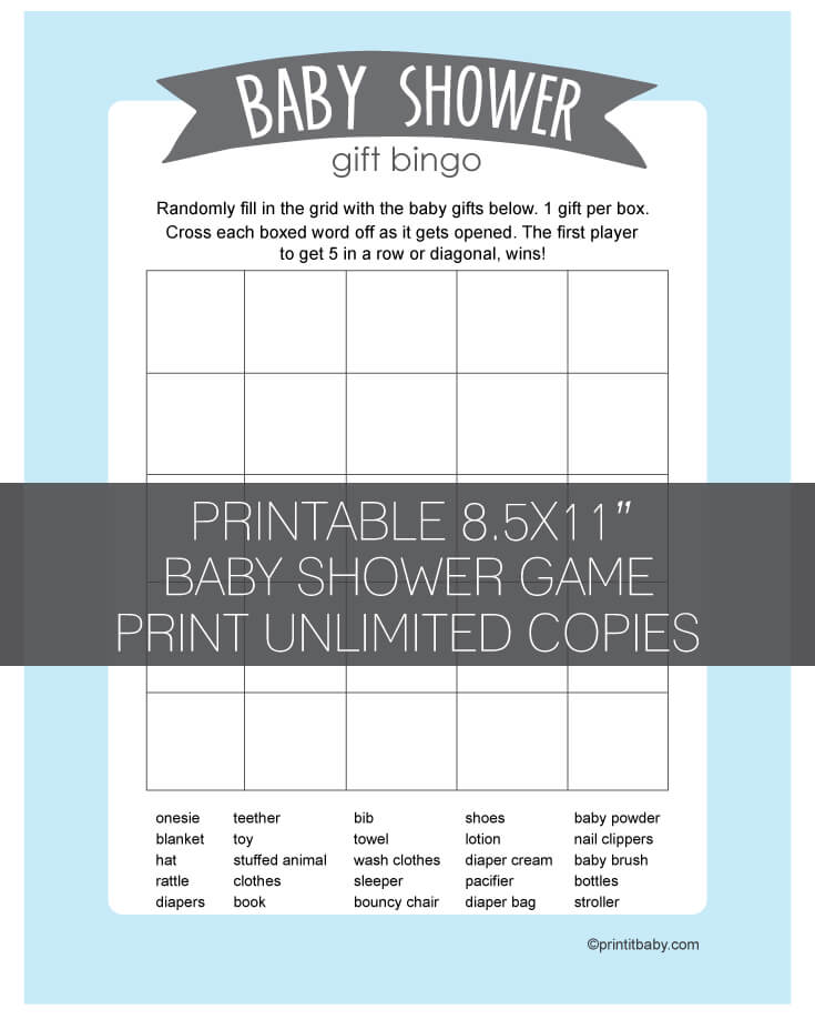 printable blue baby shower gift bingo banner