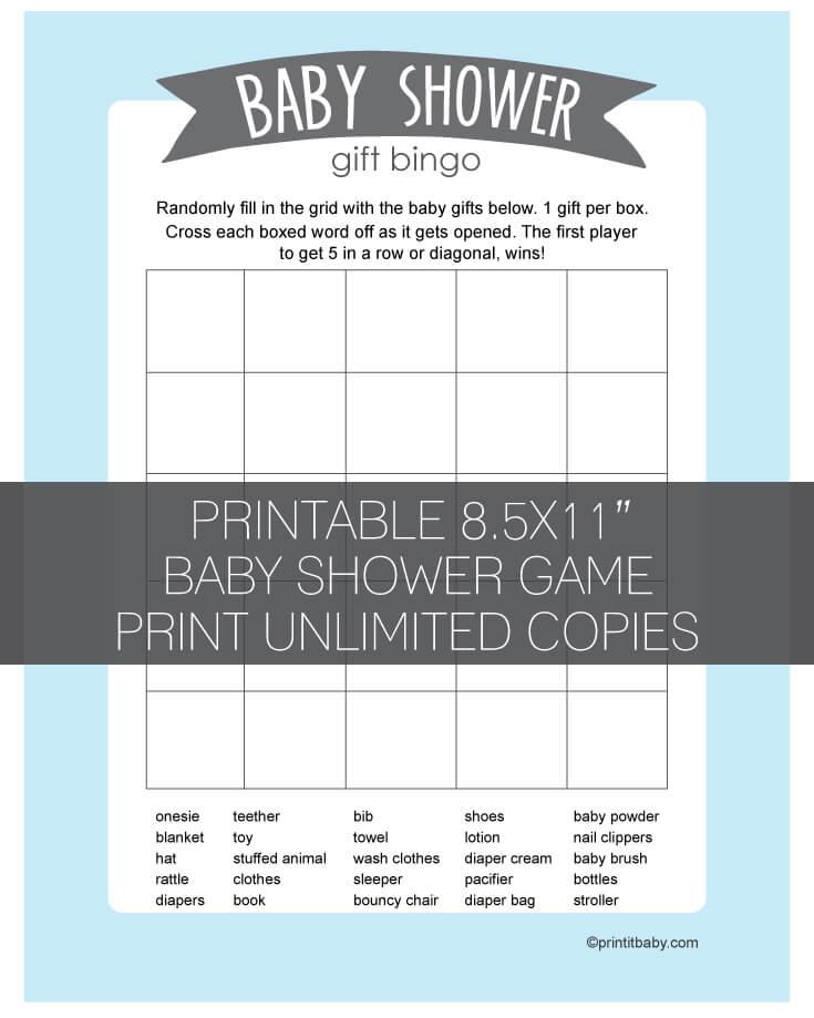Printable Baby Shower Gift Bingo Cards