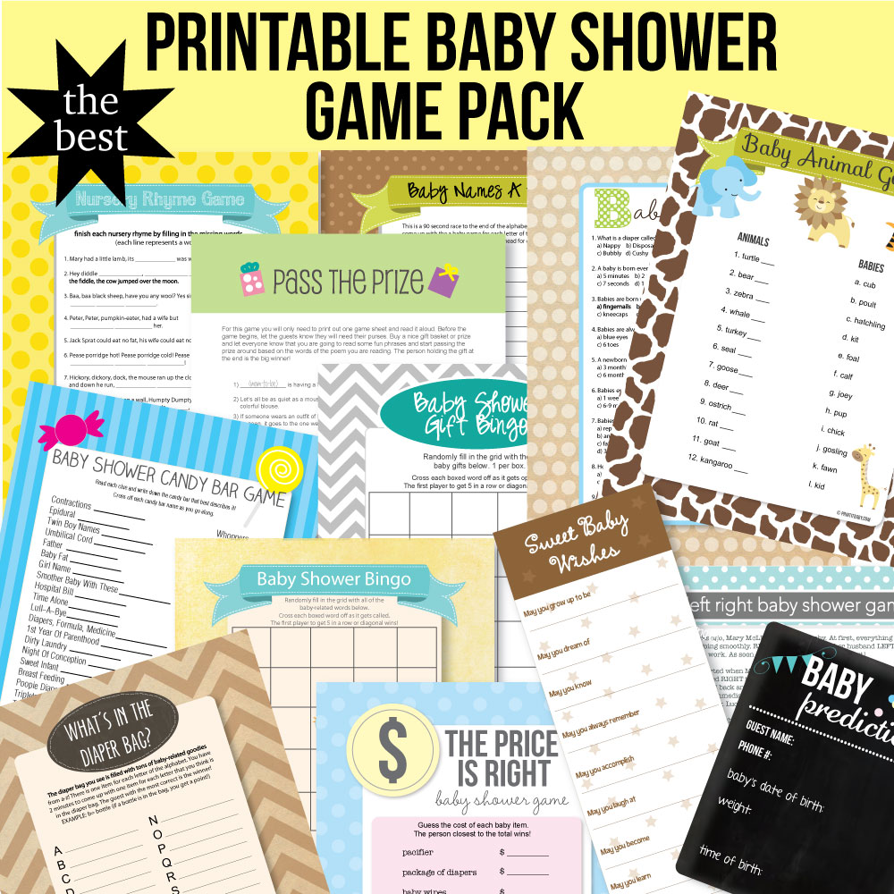 image of printable baby shower game pack