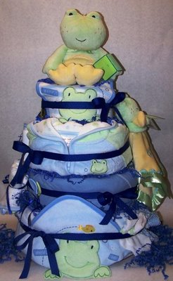 Frog Baby Shower Diaper Cake