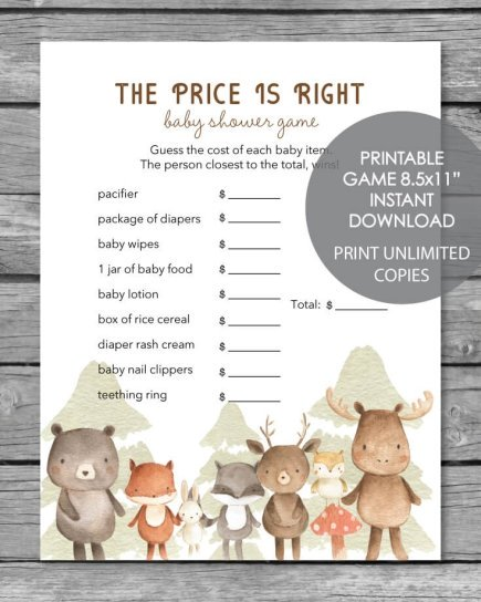 Printable the price is right baby shower game