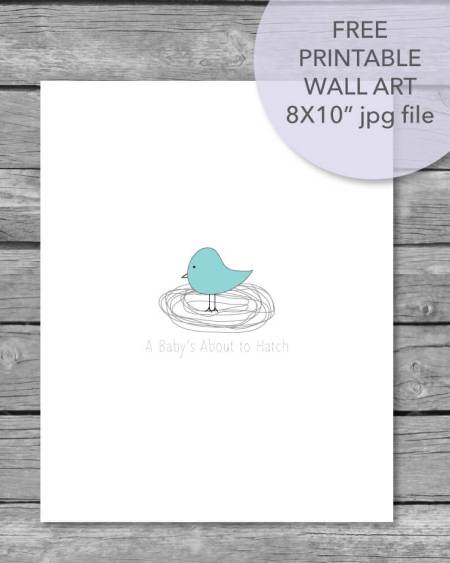 Printable About To Hatch wall art for a baby shower or baby's nursery