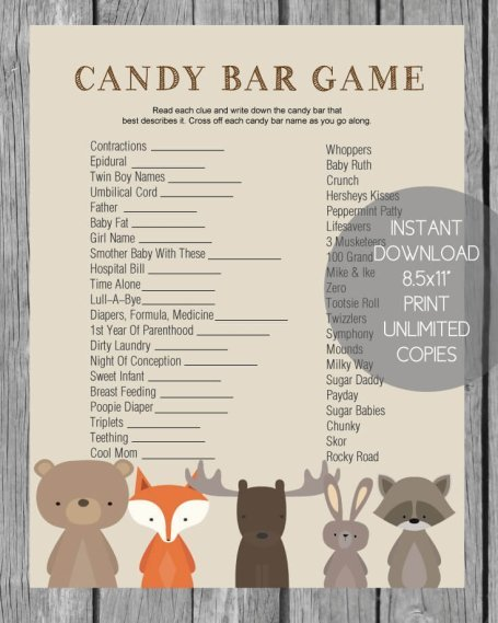 woodland themed baby shower candy bar game banner