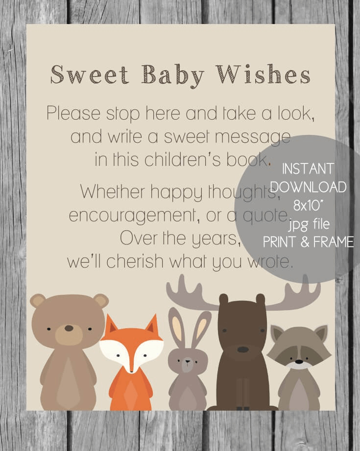 Printable woodland animals baby shower children's book sign