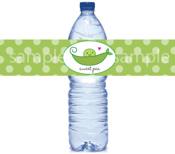 Pea in a pod water bottle labels