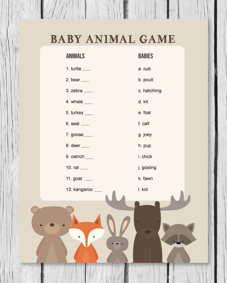 woodland themed baby animal game banner