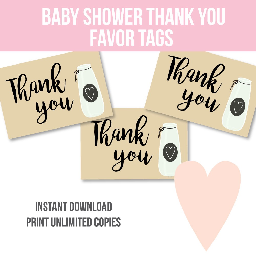 image of printable milk jar favor tags for a baby shower