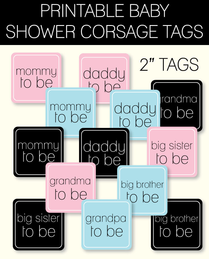 printable baby shower corsage tags banner