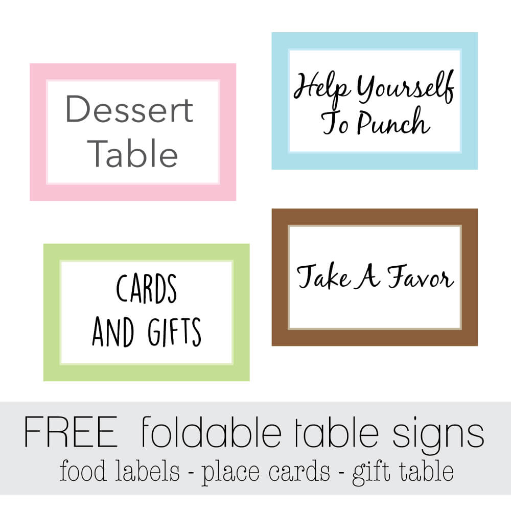 free printable foldable party table signs