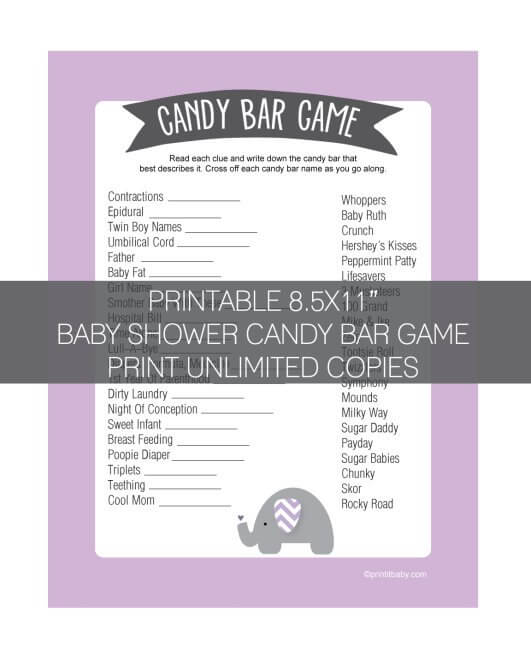 Printable Purple Elephant Baby Shower Candy Bar Game Banner