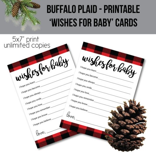 image of wishes for baby printable game cards