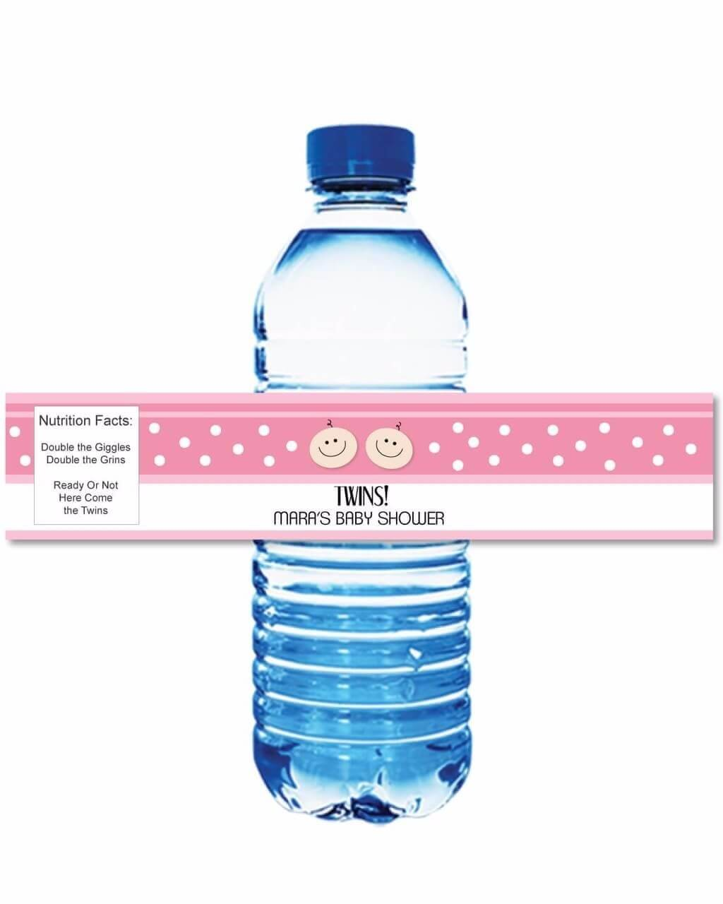 image of printable baby shower water bottle labels for twins