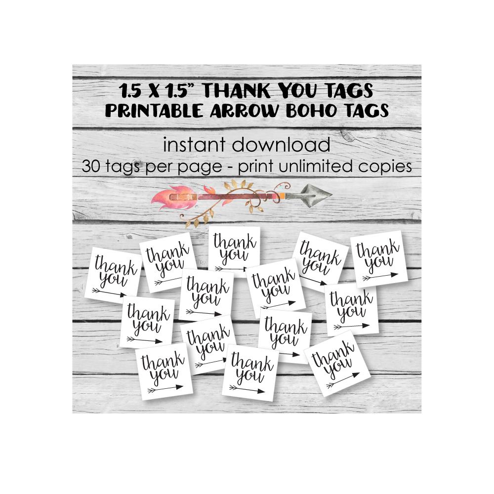 printable boho arrow favor tags