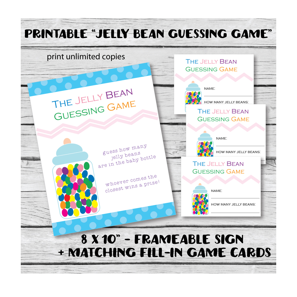 Printable The Jelly Bean Guessing Game easy baby shower games