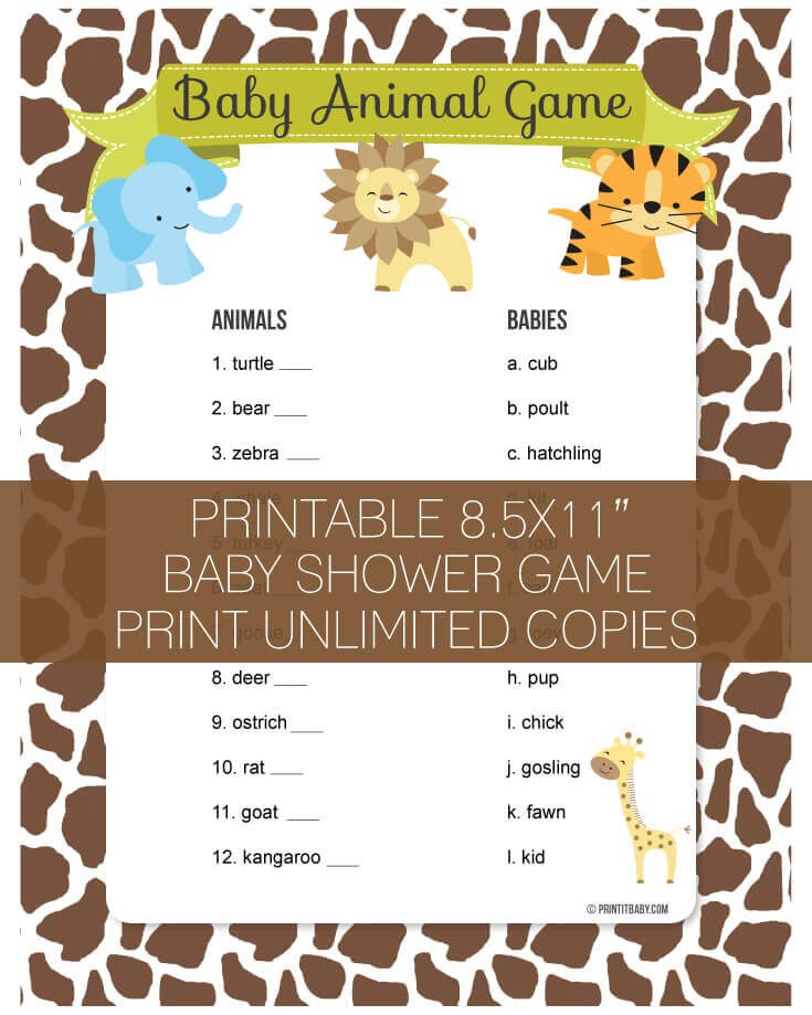 Printable Baby Animal Game
