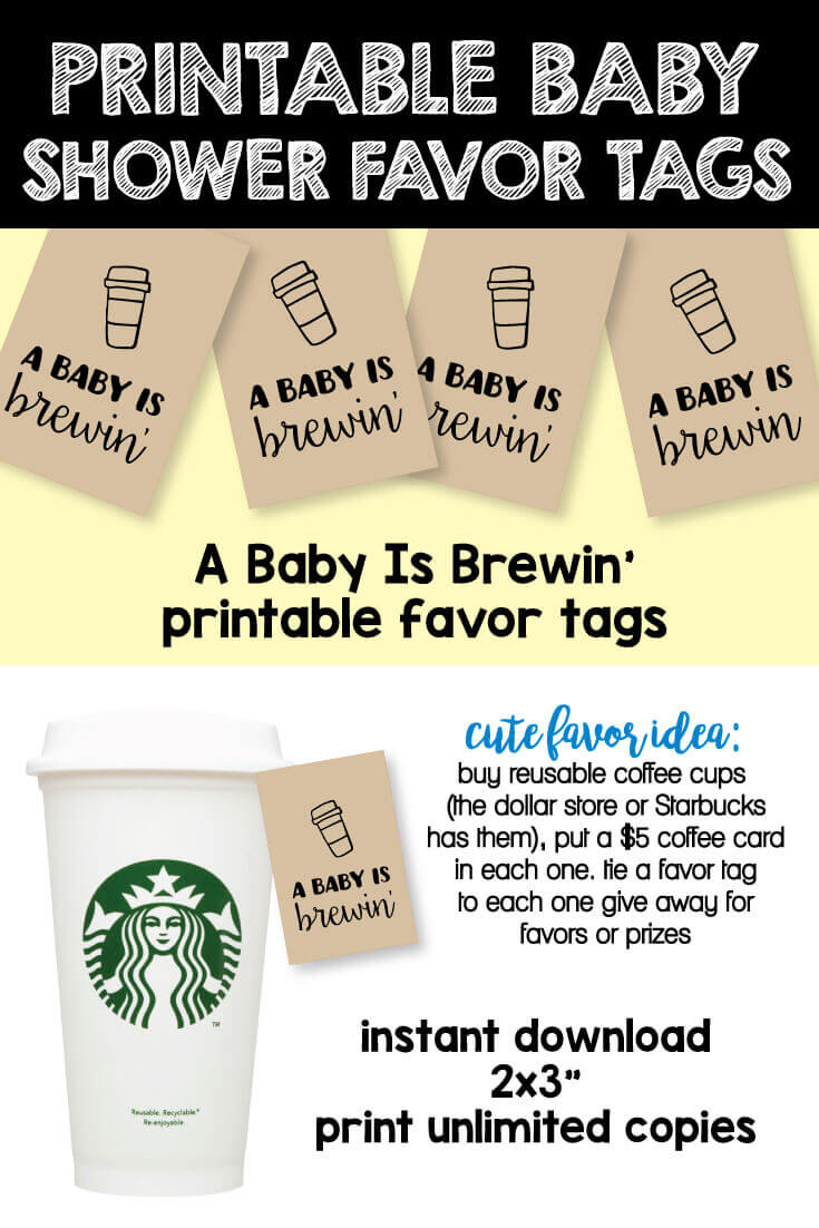 image of printable baby shower favor tags - A Baby Is Brewin'