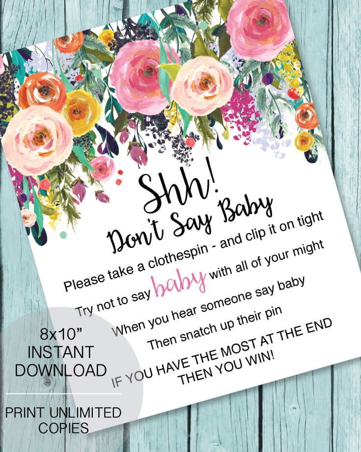 picture of Don't Say Baby game for a baby shower flower theme
