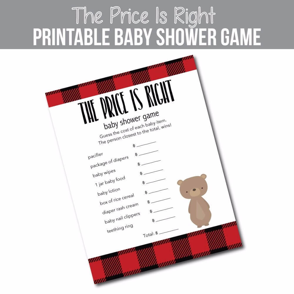 Image of Buffalo Plaid Baby Shower Price Is Right Game