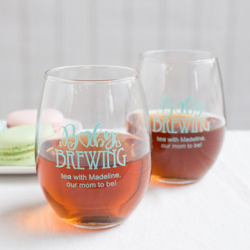 Baby shower personalized wine glasses for prizes or favors