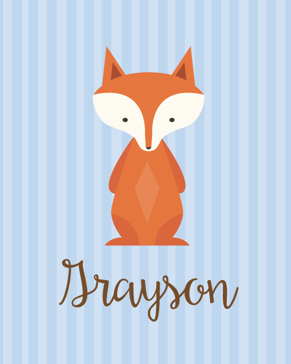 Image of blue fox printable baby nursery wall art