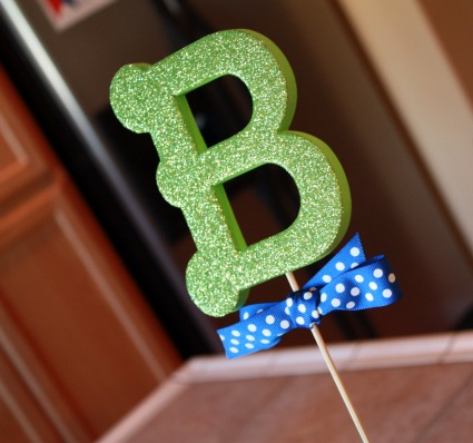 picture of glitter letter baby shower decorations
