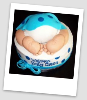 picture of polka dot baby shower cake