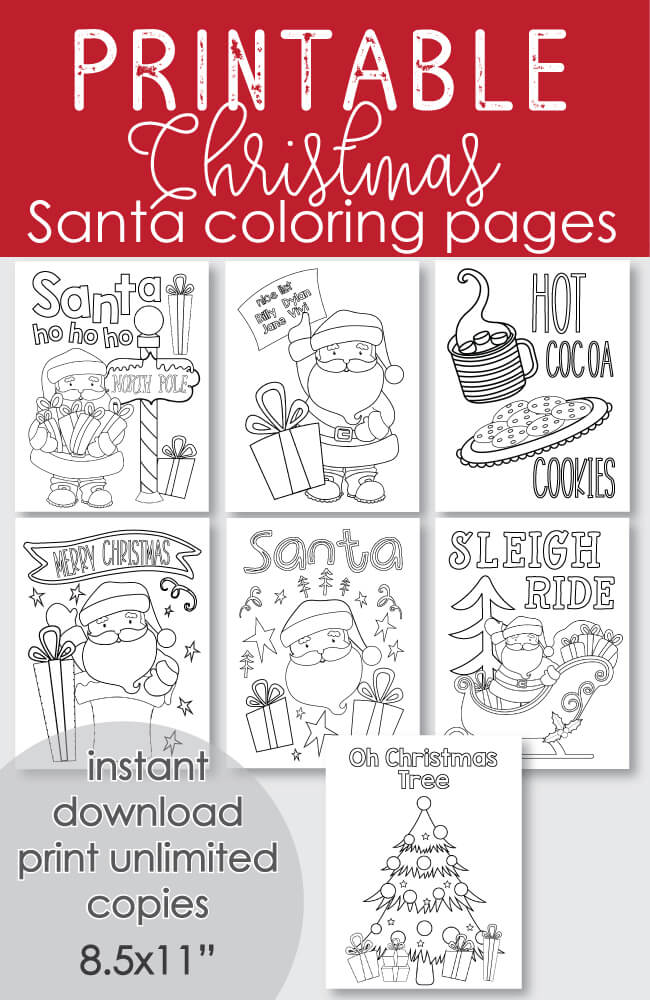 FREE Printable Santa Christmas Coloring Pages
