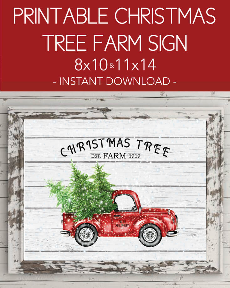 Printable Christmas Tree Farm Wall Art Print