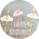 clouds and raindrops baby shower theme banner