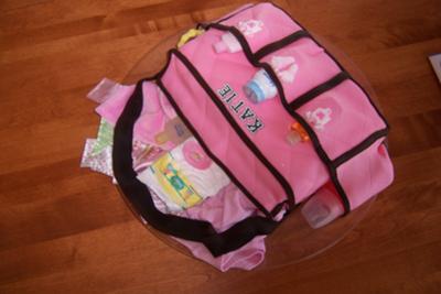 Pink Diaper Bag Cake Image
