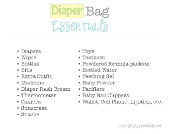 picture of diaper bag checklist