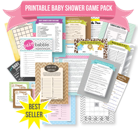 banner of popular baby shower games printable game pack