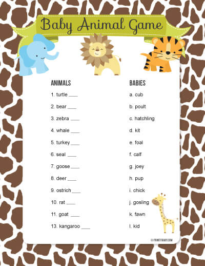 daddy animal names baby shower game this fun baby shower game has a