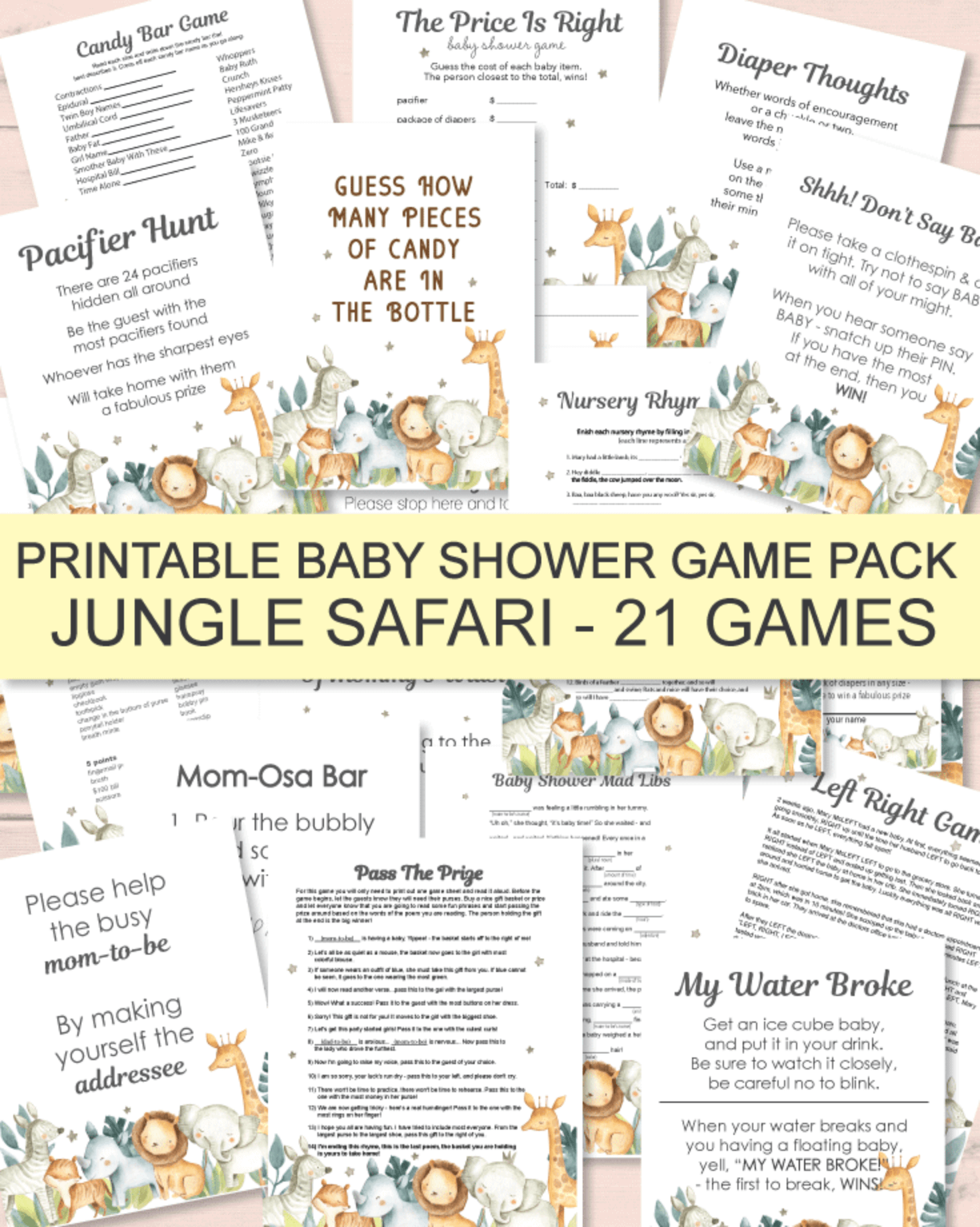 Faux gold and Green Shower Monkey Baby Shower Games Bundle Monkey Themed Baby Shower Shower For Baby