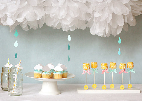 Umbrella baby shower ideas for Baby shower umbrella decoration ideas