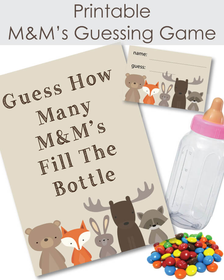 Printable Woodland Animals M & M's Baby Shower Guessing Game