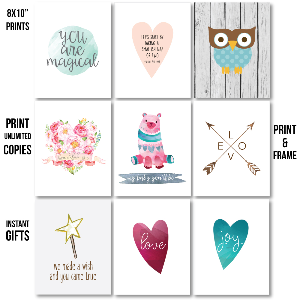image for printable baby shower nursery wall art