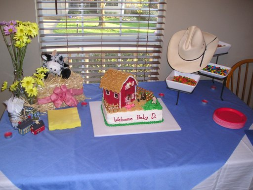 Farm animal barn baby shower cake picture