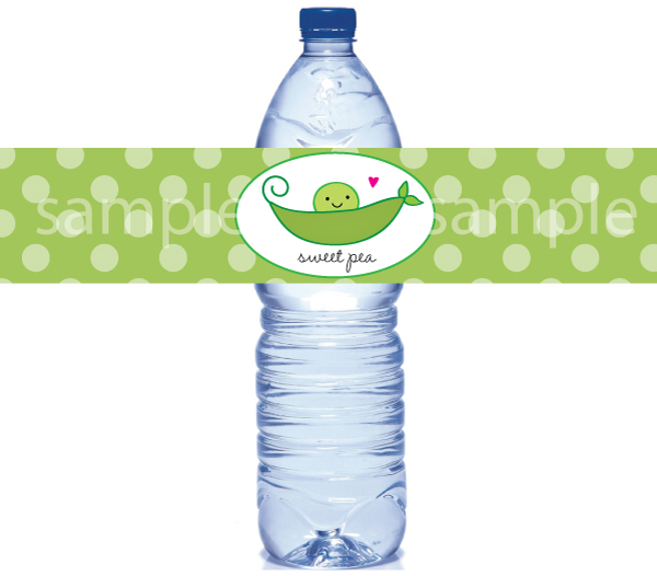 Pea in a pod water bottle labels